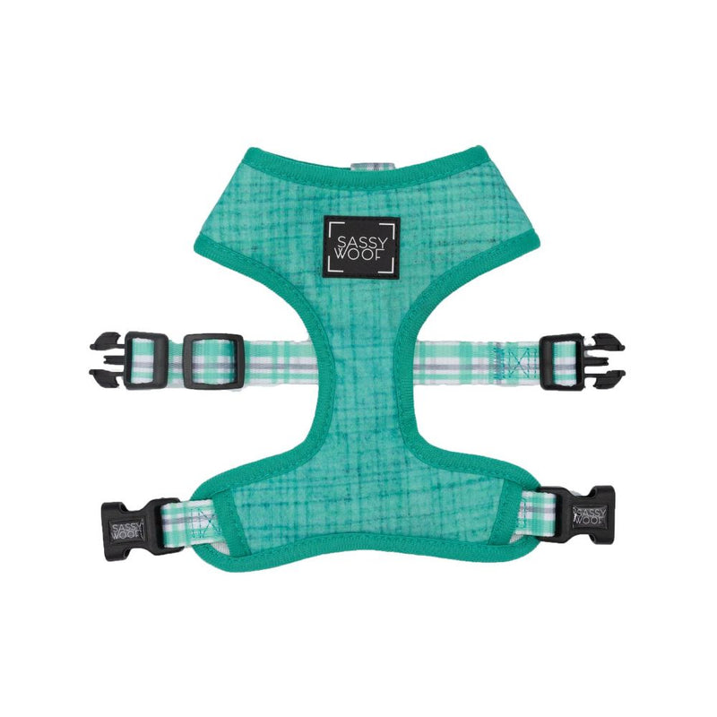 Sassy Woof REVERSIBLE HARNESS - WAG YOUR TEAL