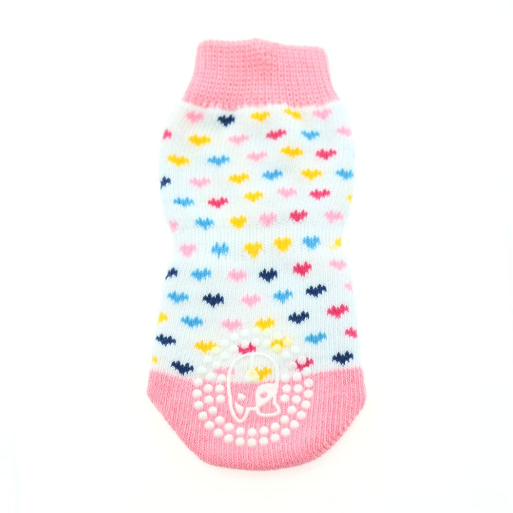 Doggie Design Non-Skid Dog Socks - Pink and White Hearts