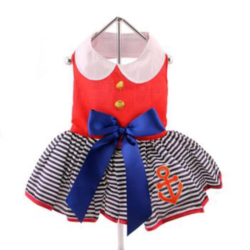 Doggie Design Sailor Girl Dress with Matching Leash
