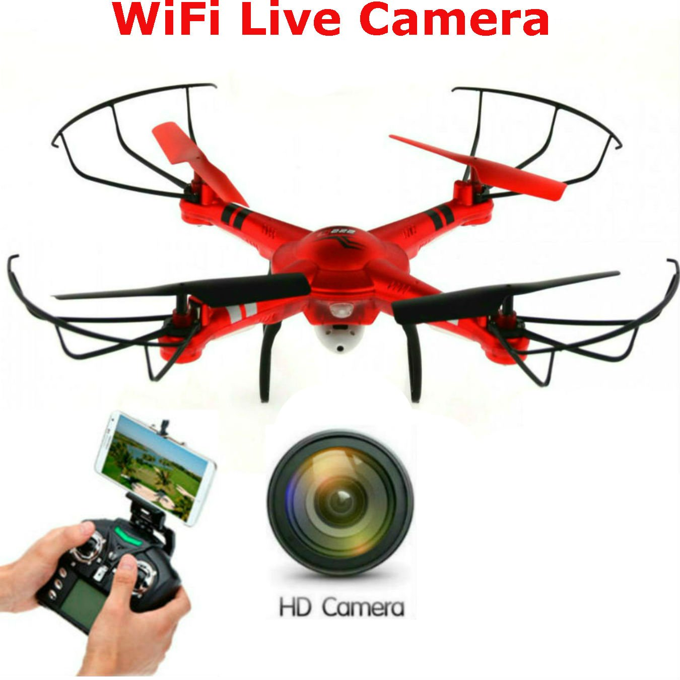 New SkyCo Q222K Rc Drone With Camera Live Video Quadcopter 4 Ch 2.4ghz 6-gyro,Headless System Drone Live Camera HD One-Key-return & Take Off Barometer Air Pressure Set Helicopter WiFi FPV (Red)