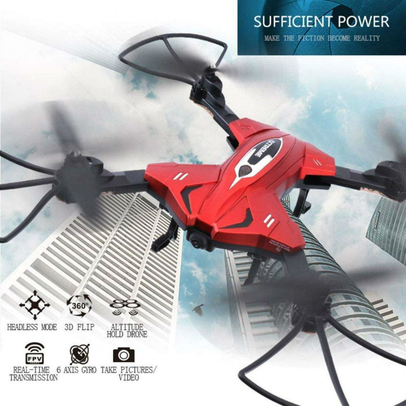 SkyCo Foldable Rc WiFi FPV WiFi Drone Quadcopter with HD Camera Live Video One-Key-Return RFT Headless Helicopter Altitude Hold