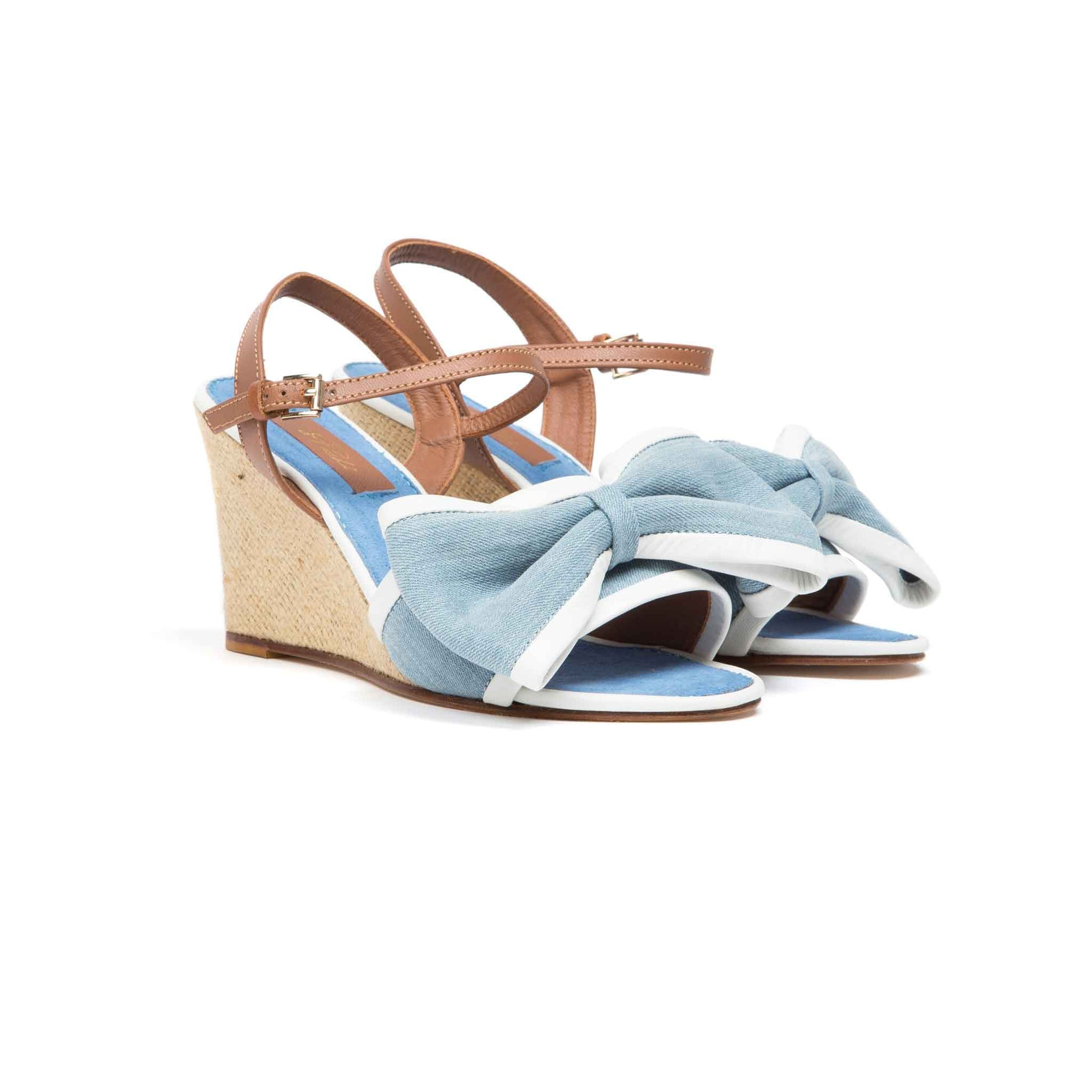 LILY WEDGE (Blue Denim/White)