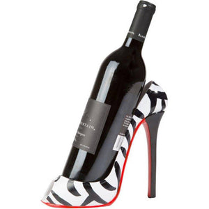 High Heel Wine Bottle Holder - Stylish Conversation Starter Wine Rack, Zebra Print