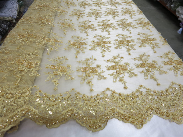 By The Yard Gold Flower Mesh Dress Embroidered Bridal Wedding Lace fabric