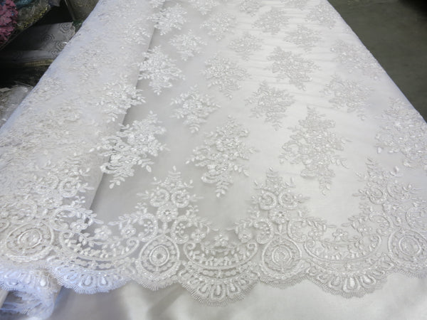 Wedding Dress Fabric.Embroidered Sequins Lace Fabric White Flower Floral Mesh Bridal Wedding Dress By The Yard Unigr Q288