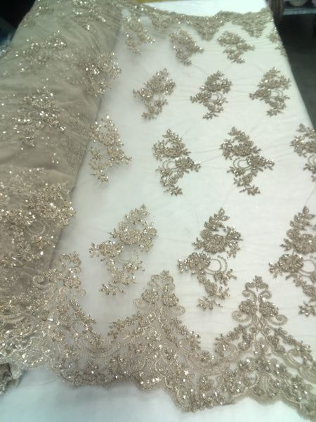 Beaded Lace Fabric By The Yard Embroidery Lace with Beads Sequins French Bridal Veil Wedding Decoration Fabric