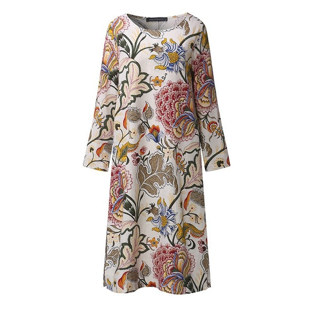 Long Sleeve Maternity Floral Dress - myhappybump