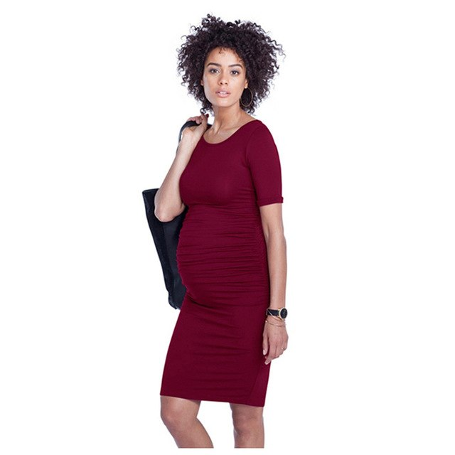 Solid Short Sleeve Maternity Dress - myhappybump