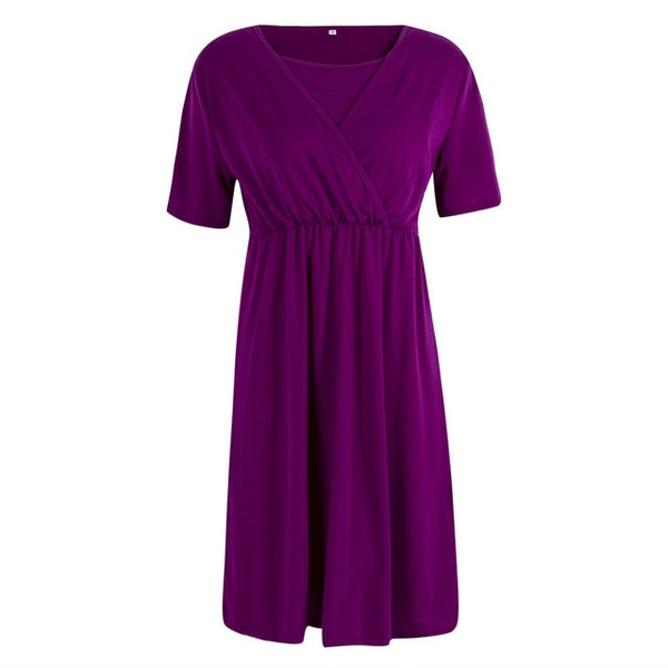 Solid Nursing Dress - myhappybump