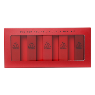 [3ce] Red Recipe Lip Color Mini Kit - 5 unidades