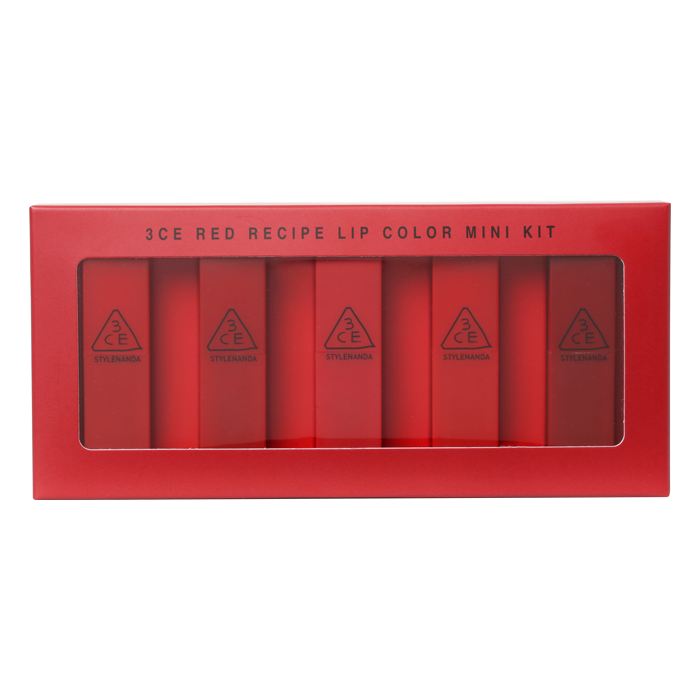 [3ce] Red Recipe Lip Color Mini Kit - 5 unidades - kmade cosméticos coreanos