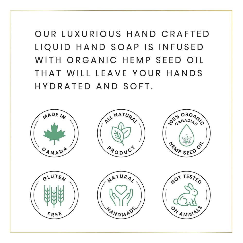 Natural Liquid Hand Soap for All Skin Types with Organic Hemp Oil, Aloe Vera, Tea Tree Oil, Coconut Oil & Vitamin E - 8.45 Fluid Ounces