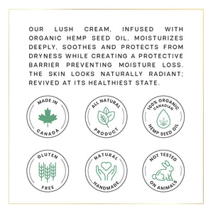 Hydrate + Revive Facecream for Day and Night with Organic Hemp Oil, Shea Butter, Olive Oil, Orange Flower Water, Witch Hazel Water & Coconut Oil - 1.69 Fluid Ounces