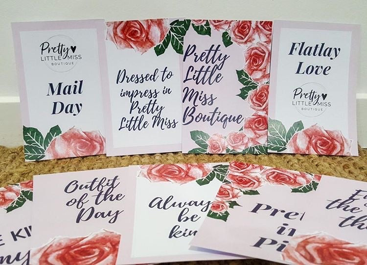 Pretty Little Miss Flatlay cards