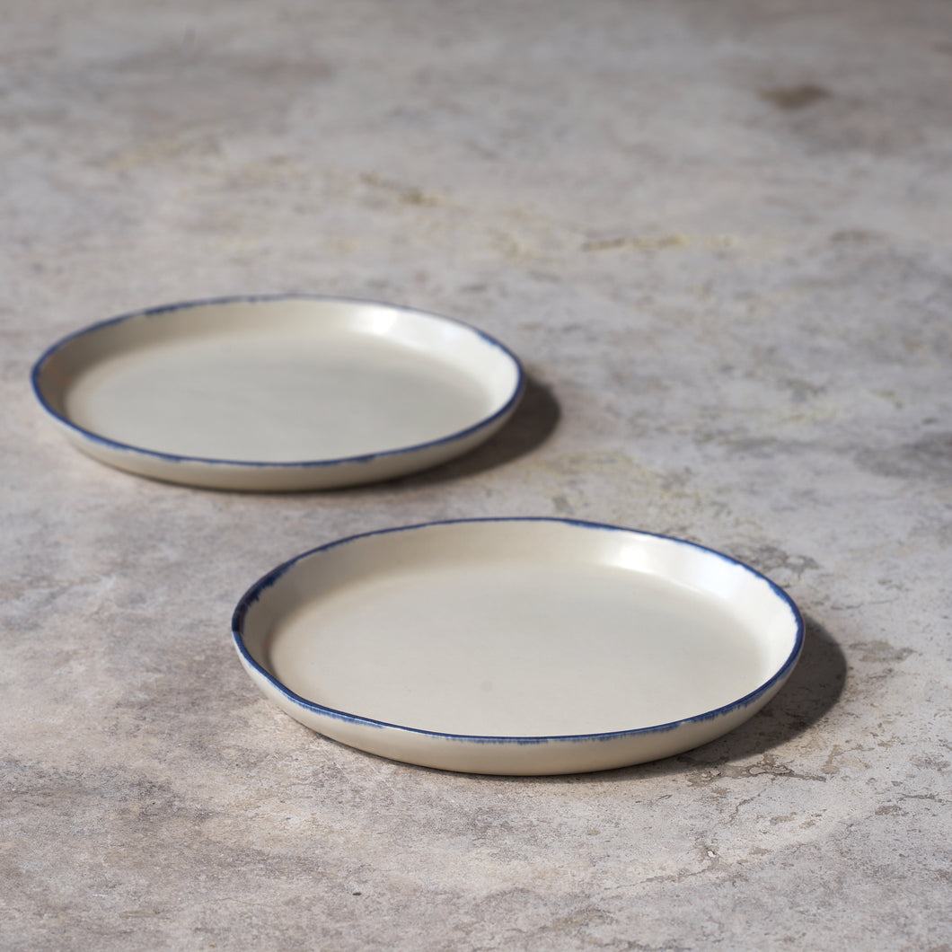 blue rim plates // set of two