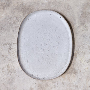 oval platter in rough white
