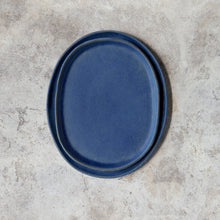 Load image into Gallery viewer, oval platters in denim blue // pair