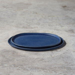 oval platters in denim blue // pair