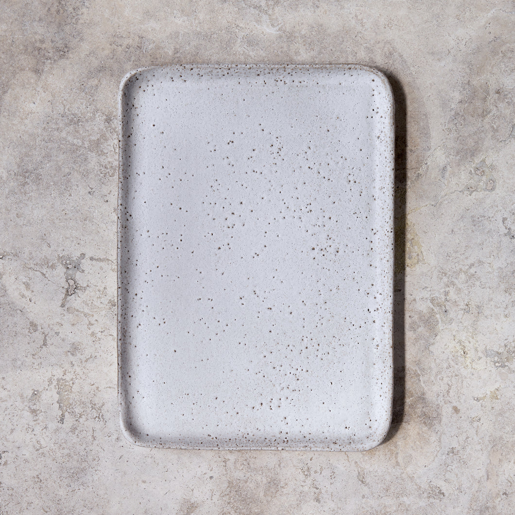 rectangular platter in rough white