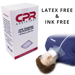 1 Box (50pc) Latex Free CPR Training Faceshield for CPR First Aid Practice Manikin