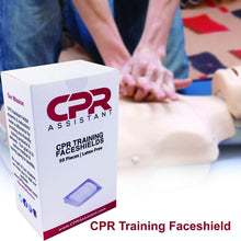 Load image into Gallery viewer, 1 Box (50pc) Latex Free CPR Training Faceshield for CPR First Aid Practice Manikin