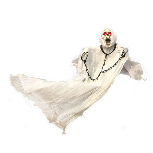 36inch 90cm Tall White Hanging Ghost with Chain Light up Eyes Sound and Sensor for Halloween Props