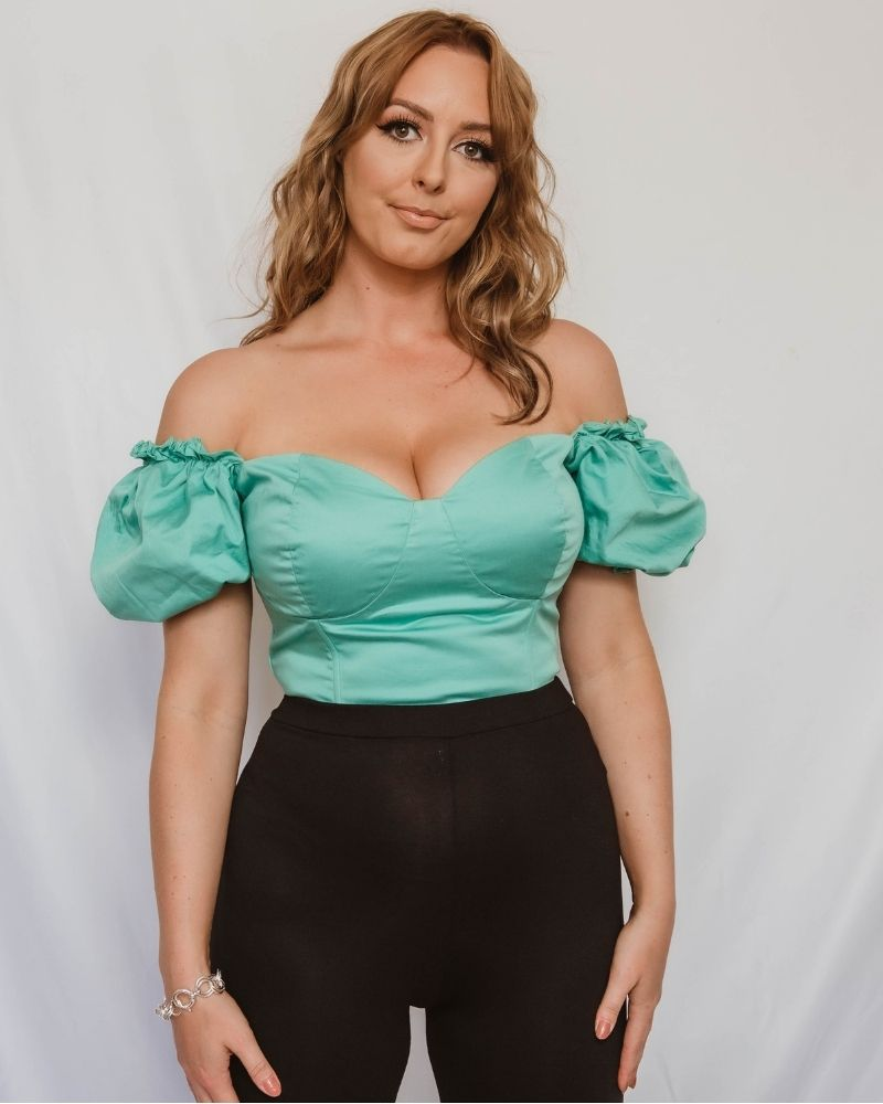 'Bella' Fuller Bust Puff Sleeve Cropped Top in Teal