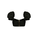 'Bella' Fuller Bust Puff Sleeve Cropped Top in Black