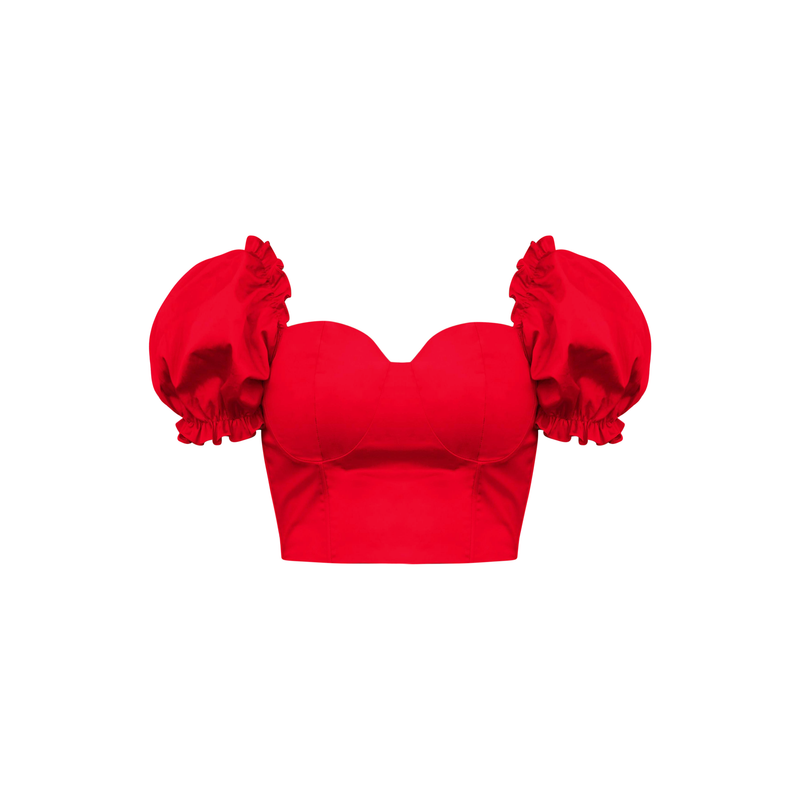 'Bella' Fuller Bust Puff Sleeve Cropped Top in Red