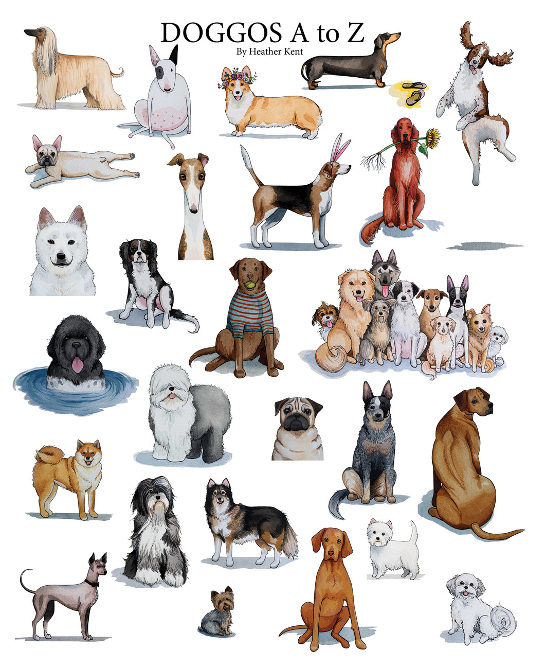 DOGGOS Print *without letters*, Dog Breed Alphabet Fine Art Giclee Print, 9x12 inch