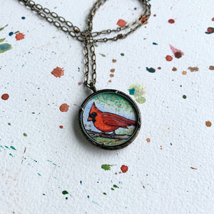 Red Cardinal Necklace, Watercolor Hand Painted Necklace, Original Art Pendant