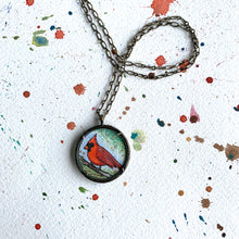Load image into Gallery viewer, Red Cardinal Necklace, Watercolor Hand Painted Necklace, Original Art Pendant