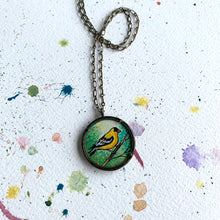 Load image into Gallery viewer, Goldfinch Art Necklace, Watercolor Hand Painted Necklace, Original Art Pendant