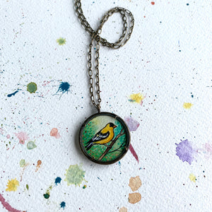 Goldfinch Art Necklace, Watercolor Hand Painted Necklace, Original Art Pendant