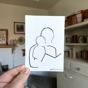 Father and Son Portrait Line Drawing, Contemporary Contour Ink Painting, 3.5x5 in- Ready to ship!