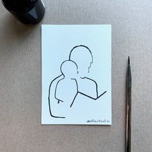 Load image into Gallery viewer, Father and Son Portrait Line Drawing, Contemporary Contour Ink Painting, 3.5x5 in- Ready to ship!