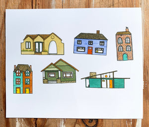 Six Small Houses - Fine Art Print of Original Watercolor Painting, 8x10 inch