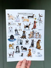Load image into Gallery viewer, DOGGOS Print *with letters*, Dog Breed Alphabet Fine Art Giclee Print, 9x12 inch