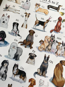 DOGGOS Print *with letters*, Dog Breed Alphabet Fine Art Giclee Print, 9x12 inch