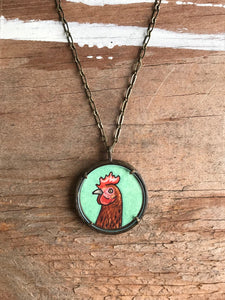 Red Chicken Necklace, Hand Painted Pendant, Original Watercolor Art