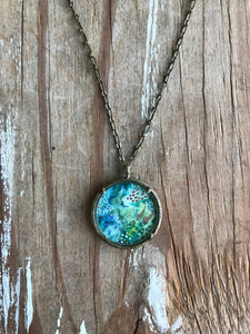 1. Abstract Painting, Watercolor Hand Painted Necklace, Original Abstract Art Pendant, One of a Kind