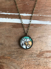 Load image into Gallery viewer, Cat Lady Necklace, A Clowder of Cats - Original Watercolor Hand Painted Pendant Necklace - Kitty Cat Friends, Gifts for Cat Lovers