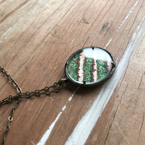 Strawberry Fields, Watercolor Hand Painted Necklace, Original Art Pendant, Strawberry Picking