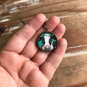 Cow Painting, Original Watercolor Art Pendant, Hand Painted Necklace