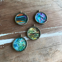 Load image into Gallery viewer, 1. Abstract Painting, Watercolor Hand Painted Necklace, Original Abstract Art Pendant, One of a Kind