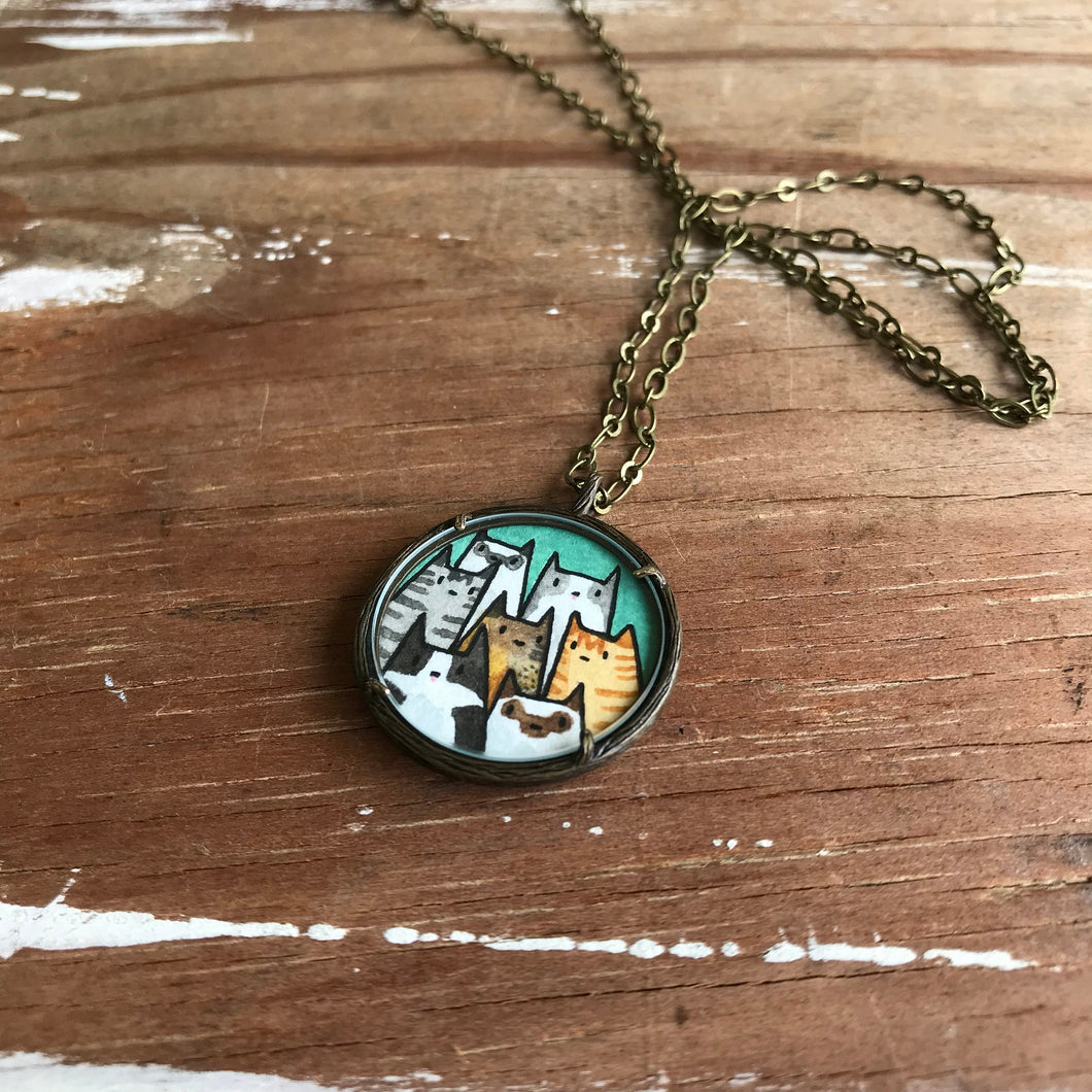 Cat Lady Necklace, A Clowder of Cats - Original Watercolor Hand Painted Pendant Necklace - Kitty Cat Friends, Gifts for Cat Lovers