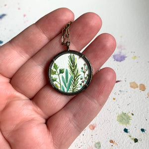 Herb Garden Hand Painted Necklace - Parsley Sage Rosemary & Thyme - Original Watercolor Painting
