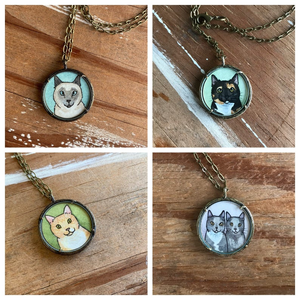A Custom Cat Portrait Hand Painted Necklace, Original Watercolor Pet Portrait Painting by Heather Kent