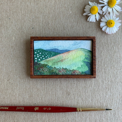 Green Hills with Distant Sheep, Miniature Painting - Small Original Watercolor Art