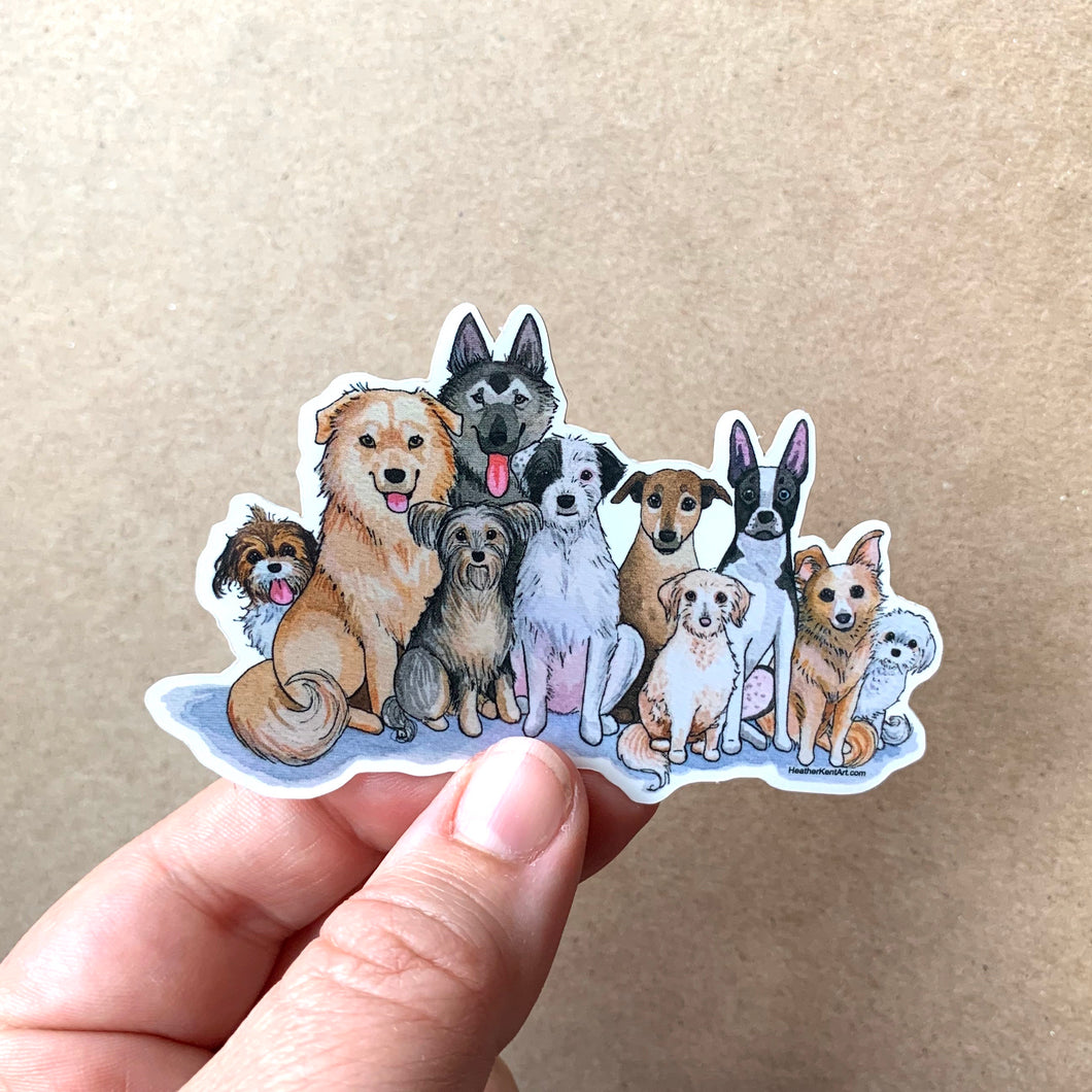 Mixed Breed Mutt Dog Love Vinyl Stickers, 3 inch, Doggos Sticker, FREE SHIPPING